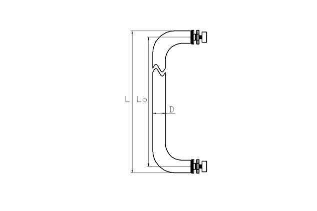 Tirador Inox sencillo para puertas cristal 601 plano