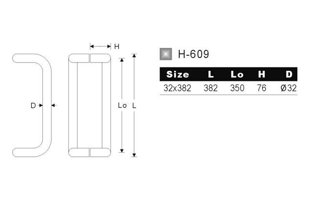 Tirador inox para puerta de cristal doble y sencillo 609 plano