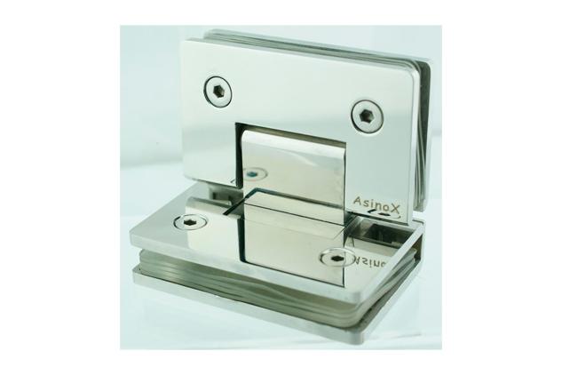 Bisagra Inox 90º desplazada, para vidrio 52789021-2