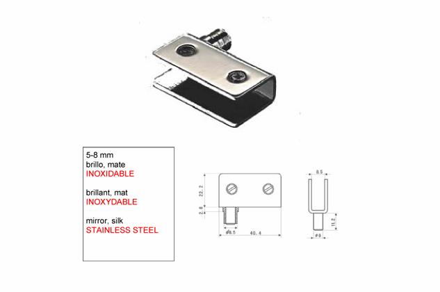Bisagra soporte Inox para Vitrina 5-8-mm 52730101-2