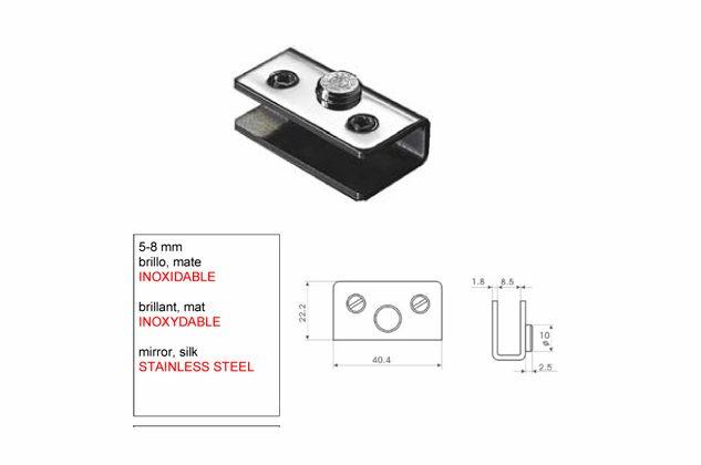 Bisagra soporte Inox para Vitrina 5-8-mm 5273021-2