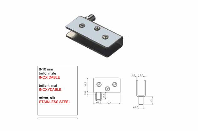 Bisagra soporte Inox para Vitrina 8-10-mm 52730301-2