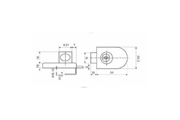 Cerradura vidrio, cromado, mate y dorado, 5-8mm y 8-12 mm (51408081-2-3 y 51408121-2-3 plano)