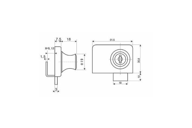 Cerradura vidrio, cromado, mate y dorado, 5-8mm y 8-12 mm (51417081-2-3 y 51417121-2-3 plano)