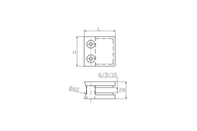 Pinza Inox AISI 316 cuadradad, asiento curvo, 45 mm, brillo y mate (Ref. 670260801-2) plano