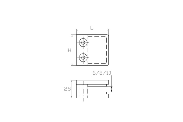 Pinza Inox AISI 316 Cuadrada, asiento plano 45mm, brillo y mate (Ref. 670260601-2) Plano