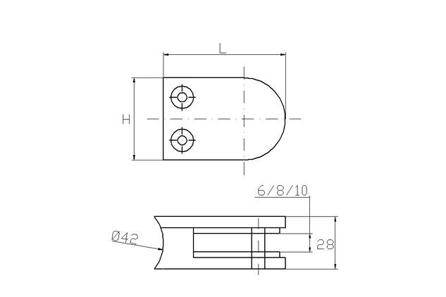 Pinza Inox curva, asiento curva, 50 y 63 mm, brillo y mate,670200301-2 y 67020040-21 plano