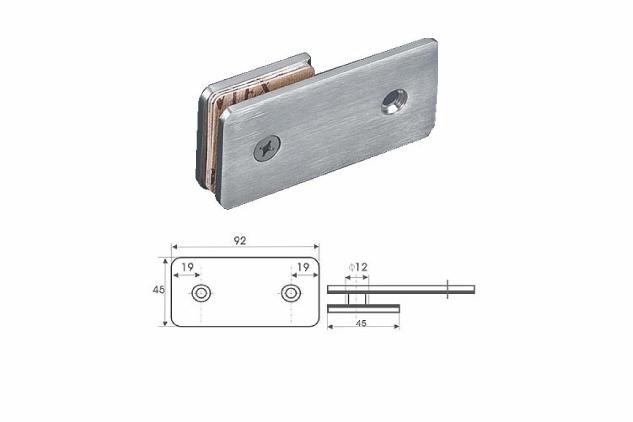 Soporte vertical Inox 180º, a pared, vidrio 6-10mm, 52225001-2