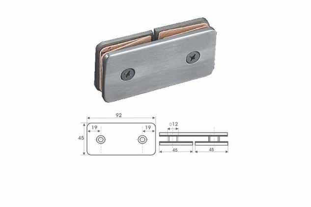 Soporte vertical Inox 180º, vidrio 6-10mm, 52224001-2