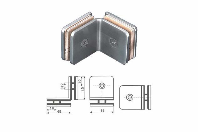 Soporte vertical Inox 90º vidrio 6-10mm 52222001-2