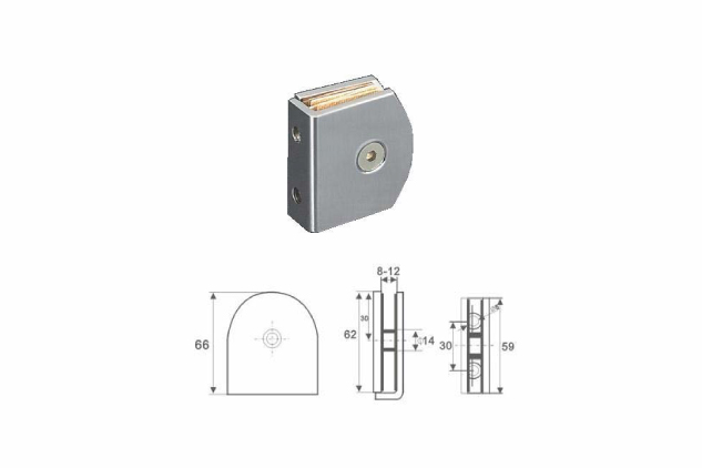Soporte vertical Inox vidrio 6-12mm 52251001-2