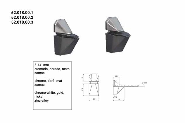 Soporte vitrina estantes 3-14mm 52018001-2-3
