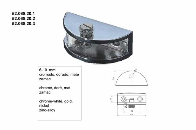 Soporte vitrina estantes 6-10mm, (Ref.52068201-2-3)