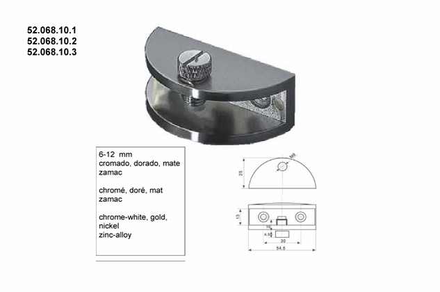 Soporte vitrina estantes 6-12mm, (Ref.52068101-2-3)