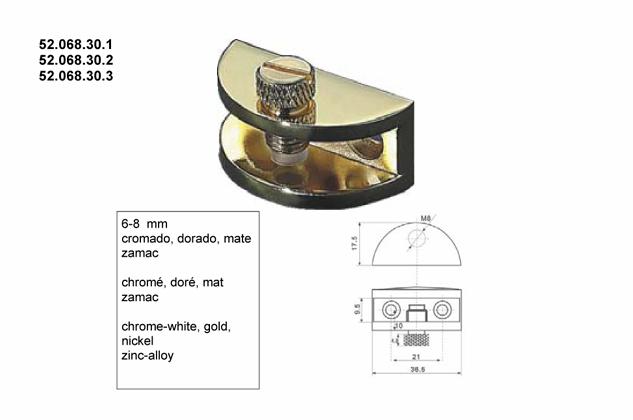 Soporte vitrina estantes 6-8mm, (Ref.52068301-2-3)
