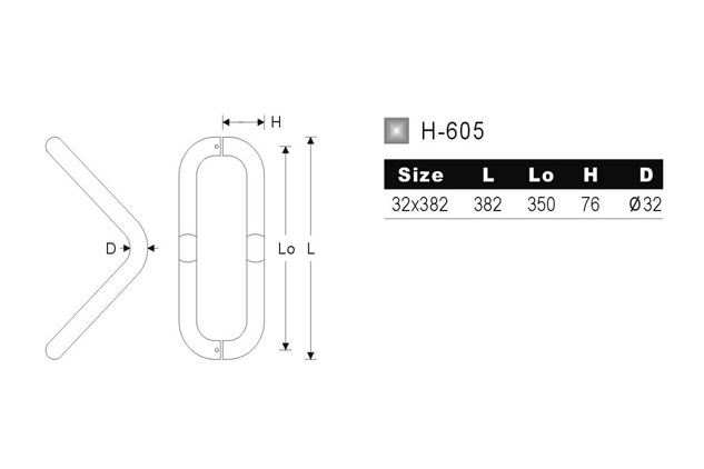 Tirador Inox Puerta Aluminio 605 medidas