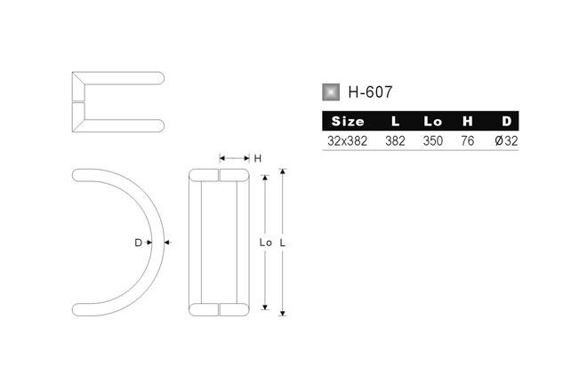 Tirador Inox Puerta Aluminio 607 medidas