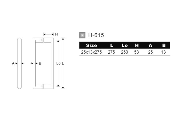 Tirador Inox puerta vidrio 615 medidas