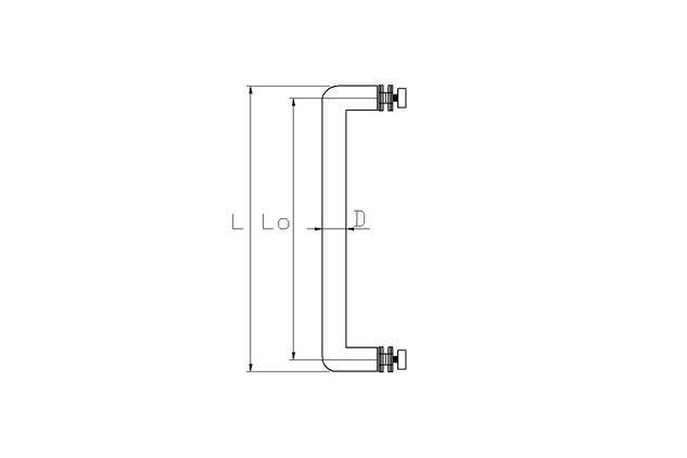 Tirador Inox sencillo Puerta Aluminio 607 plano