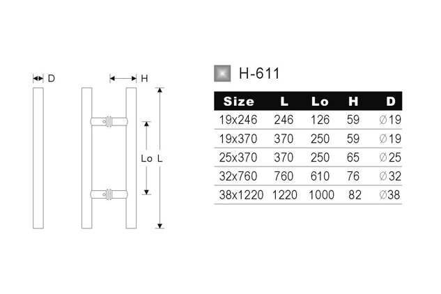 Tirador inox doble puerta cristal 611 medidas