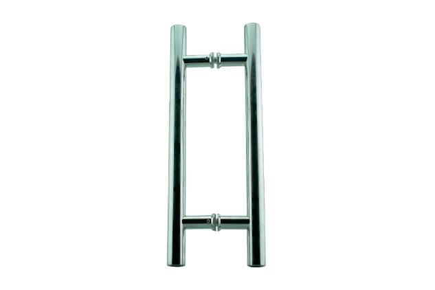 Tirador inox doble puerta cristal 611