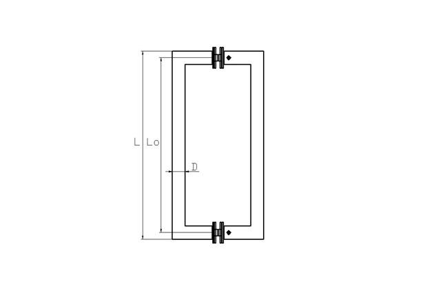 Tirador inox doble puerta vidrio 613 plano.