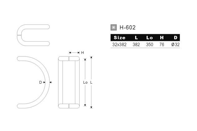 Tirador inox puerta aluminio 602 medidas