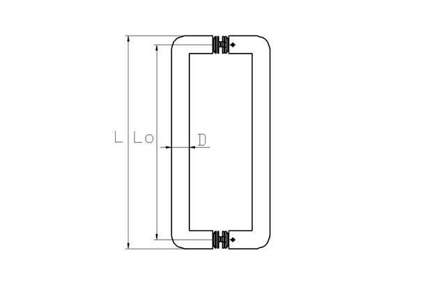 Tirador inox puerta aluminio doble 602 plano