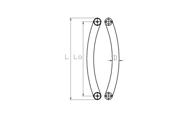 Tirador inox puerta cristal doble 610 plano