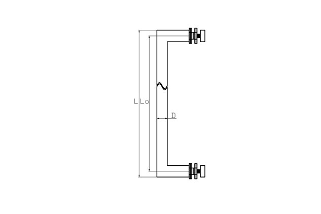 Tirador inox sencillo puerta vidrio 613 plano